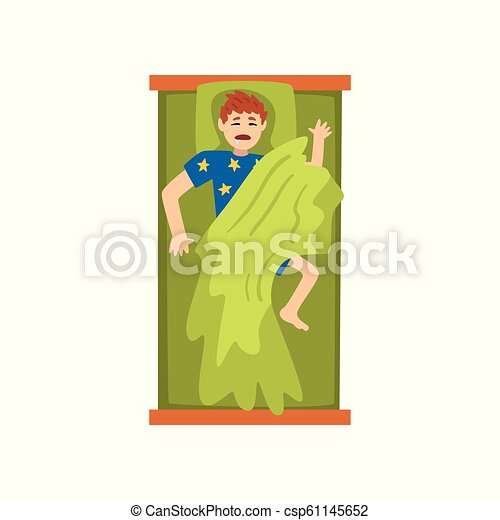 Man sleeping on his back in his bed, view from above vector Illustration on a white background - csp61145652