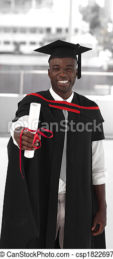 Man smiling at graduation - csp1822697
