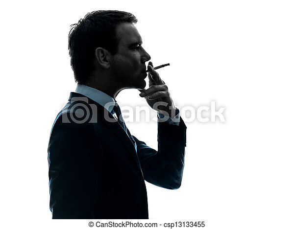 man smoking cigarette silhouette - csp13133455