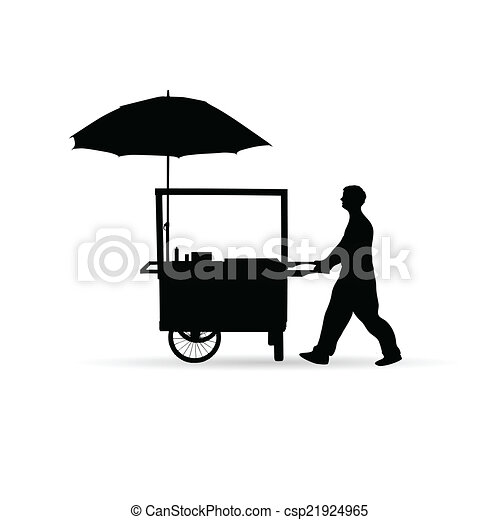 Man sold hot dog vector silhouette illustration.