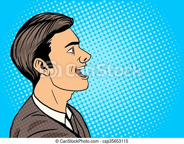 Line Art Illustration Style : Man speak pop art style vector illustration. human clip