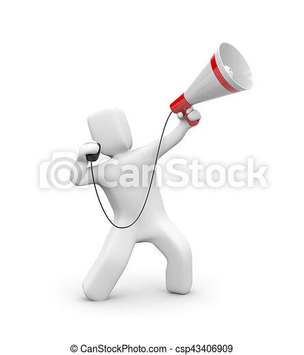 Man speaks in megaphone. 3d illustration - csp43406909