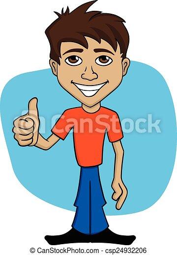 man, spotprent, illustratie, vrolijke  - csp24932206