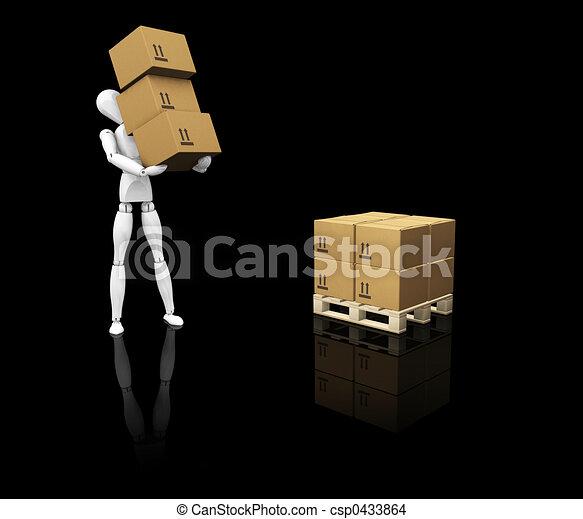 Man stacking boxes - csp0433864