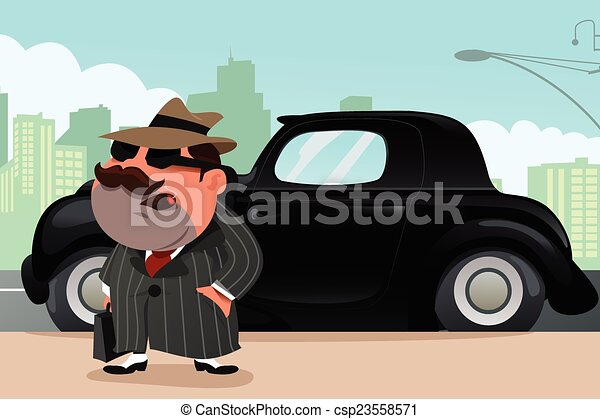Man standing in front his car - csp23558571