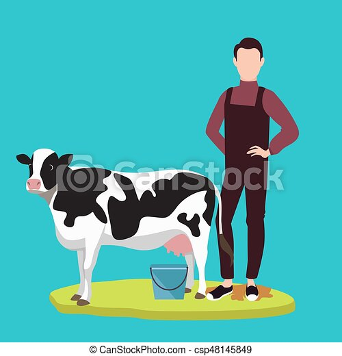 Man Standing In Front Of Cow Cattle Farming Livestock Vector
