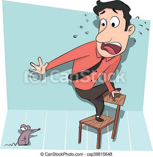 Man standing on chair afraid of rat. Man standing on chair ...