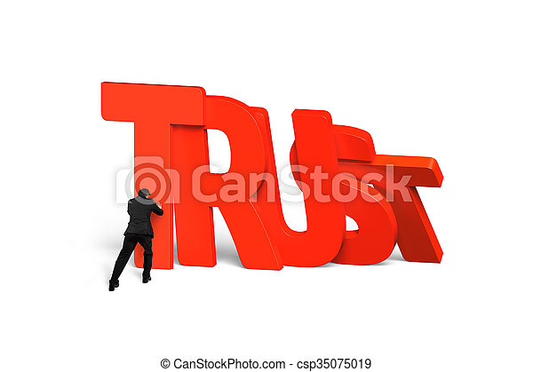 Man stopping red trust word dominoes falling - csp35075019