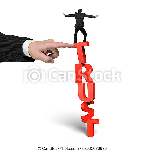 Man stopping trust domino falling with another hand helping - csp35628670