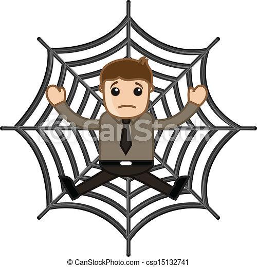 Man Stuck in Spider Web - csp15132741