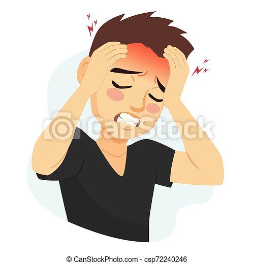 Man Suffering Migraine Headache Young Man Suffering Migraine Headache Problem Holding Head With Hands