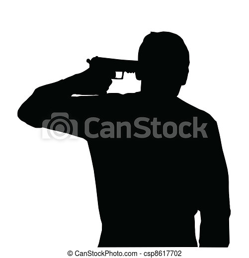 Man suicide. Silhouette of man holding gun against own ... Suicide Hanging Cartoon