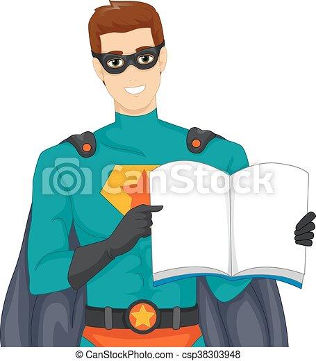 man super hero book storytelling illustration of a man eps rh canstockphoto com storytelling clipart black and white