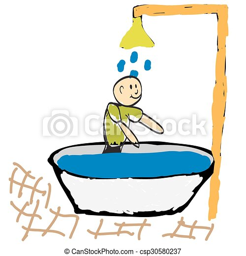 man taking a shower in the morning illustration vectors search rh canstockphoto com take a shower clipart