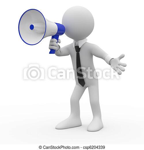 Man talking on a megaphone - csp6204339