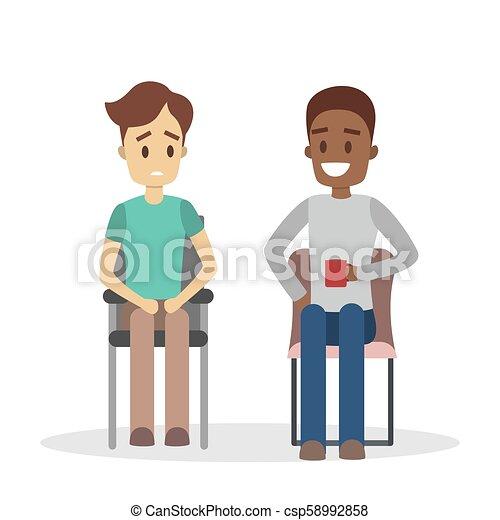 Man Talking To Psychologist Sad Man Sitting On The Chair Talking To
