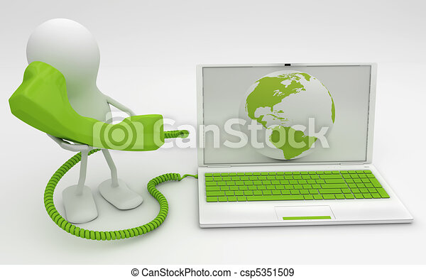 Man talkng on the phone connected to Internet. 3D render. - csp5351509