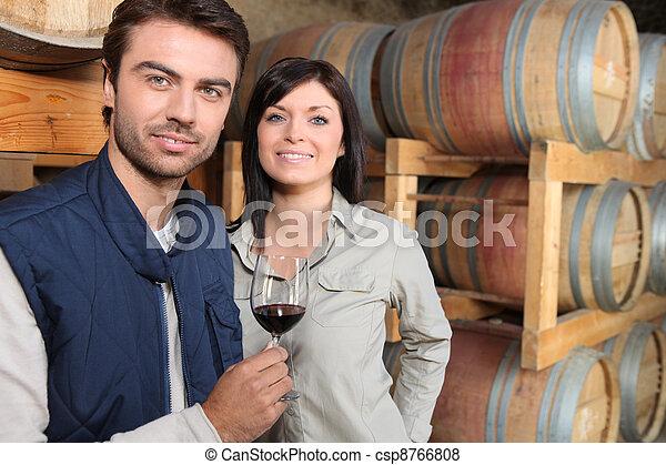 Man testing wine cellar - csp8766808