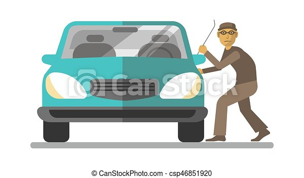 Man thief breaking car door isolated on white - csp46851920