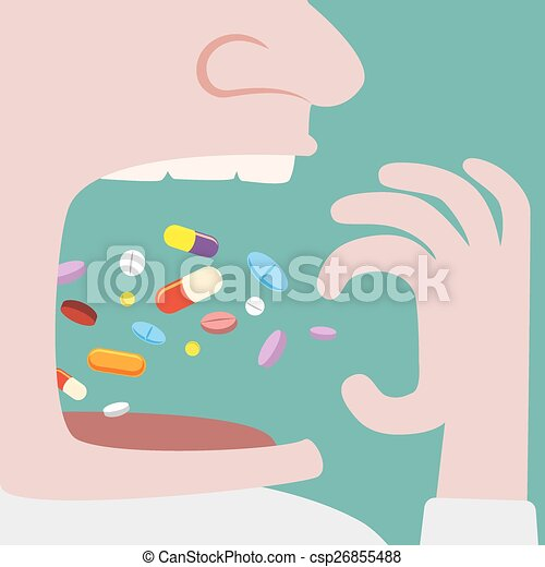 Man Throw a lot of pills in to his mouth - csp26855488