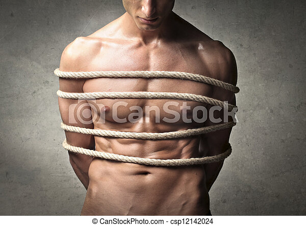 Muscle guy tied up