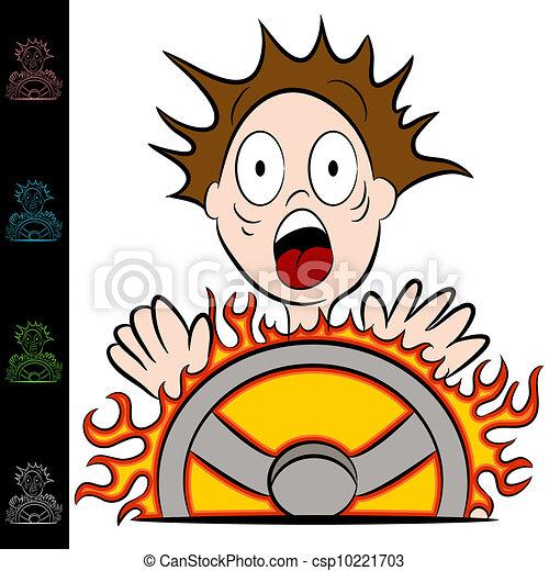Man Touching a Hot Steering Wheel - csp10221703