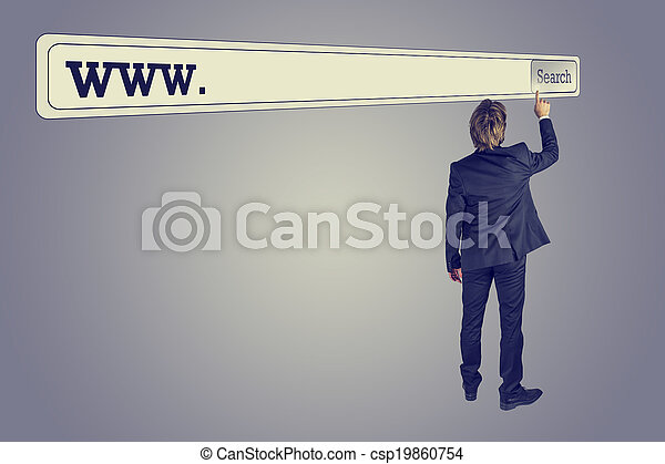 Man touching the button of a huge search bar - csp19860754