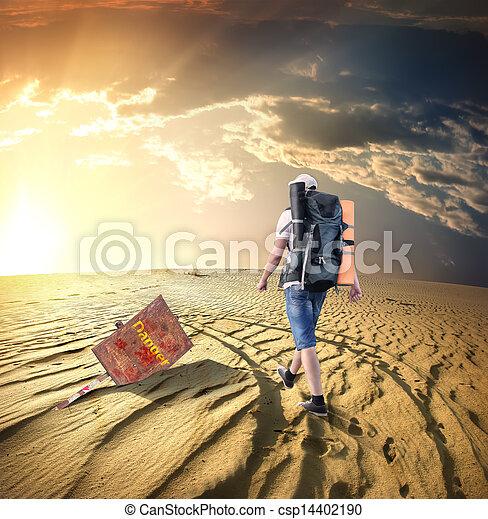 Man traveling in desert - csp14402190