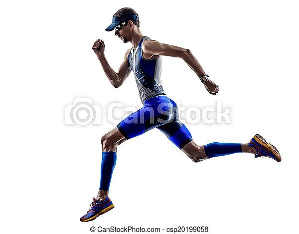 man triathlon iron man athlete runners running - csp20199058
