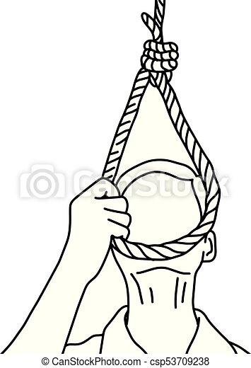 man trying to suicide vector illustration outline sketch hand drawn with black lines isolated on white background - csp53709238