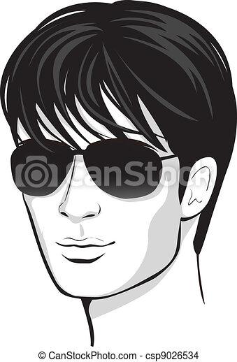 man., twarz, wektor, zaprojektujcie element - csp9026534