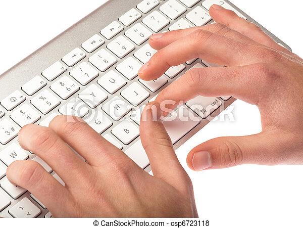 man typing on a keyboard - csp6723118