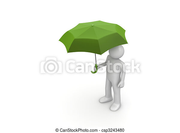 Line Art Umbrella : Man under green umbrella. 3d isolated characters on white stock