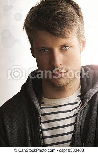 man, ung, ansikte - csp10580483