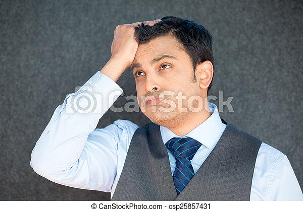 Man upset with hand on head - csp25857431
