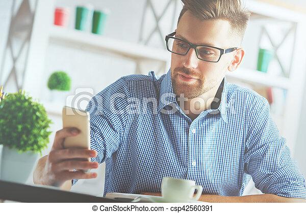 Man using cellphone - csp42560391