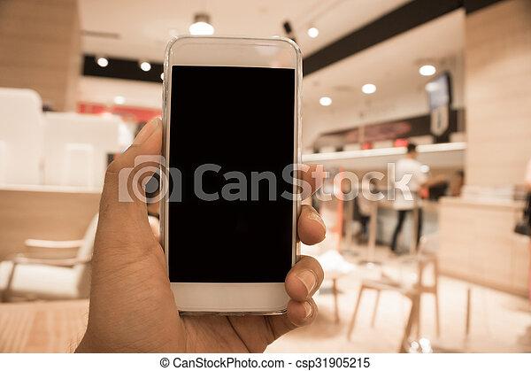 man using mobile smart phone - csp31905215