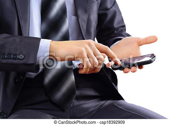 man using mobile smart phone - csp18392909