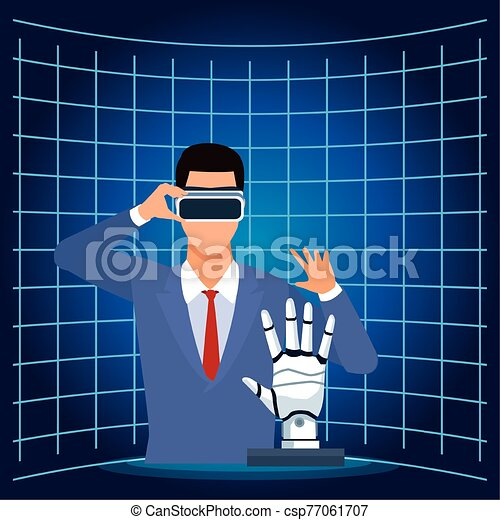 man using vr goggles and android hand artificial intelligence technology - csp77061707