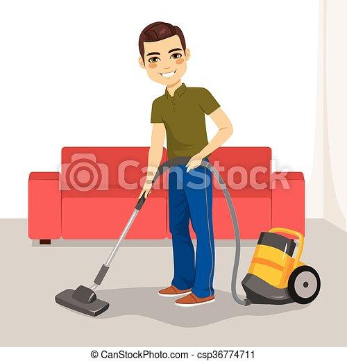 Man vacuum cleaner. Yo...
