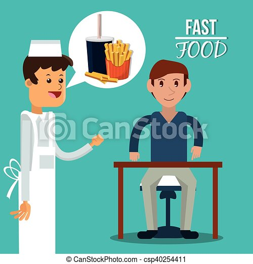 Man waiter and fast food design - csp40254411