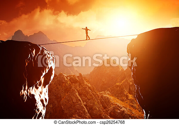 Man walking and balancing on rope - csp26254768