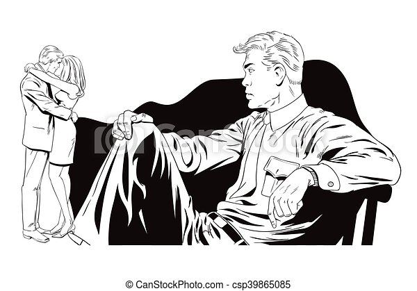 Line Art Couple : Stock illustration people in retro style pop art and vector