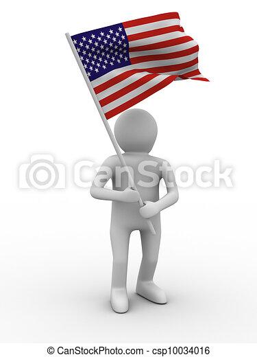 man waves flag on white background. Isolated 3D image - csp10034016