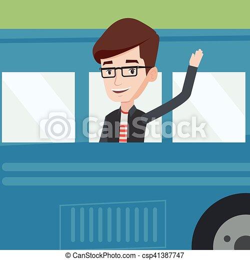 Man waving hand from bus window. Caucasian man enjoying ...