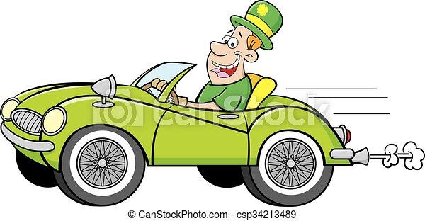 Man Wearing a Derby driving a car. - csp34213489