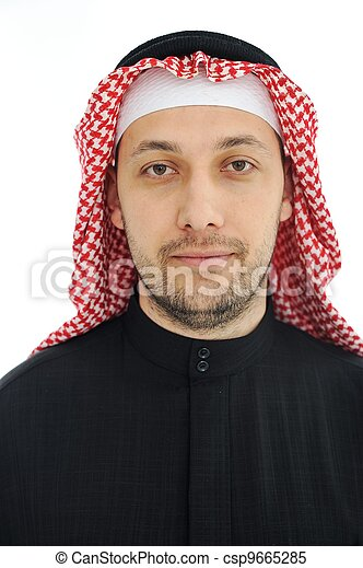 Man wearing arabic middle eastern traditional clothes - csp9665285