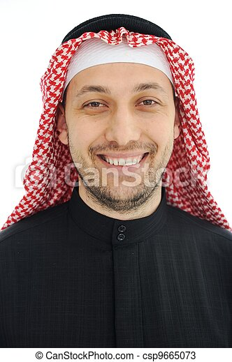 Man wearing arabic middle eastern traditional clothes - csp9665073