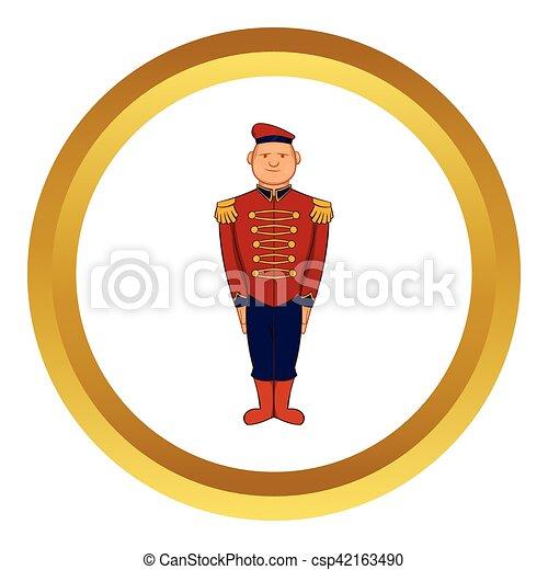 Man wearing army uniform 19th century vector icon - csp42163490
