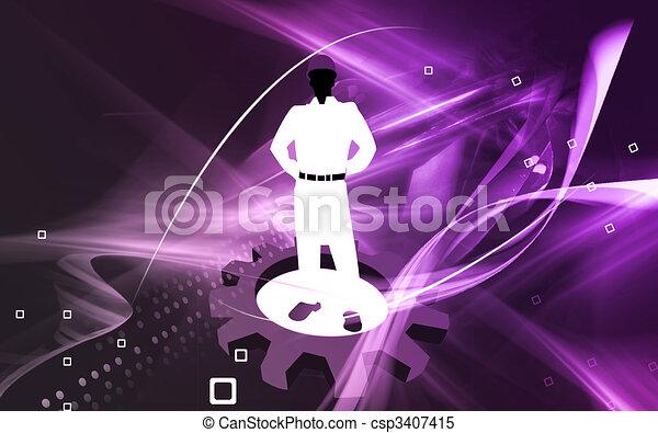 man wearing hardhat l - csp3407415